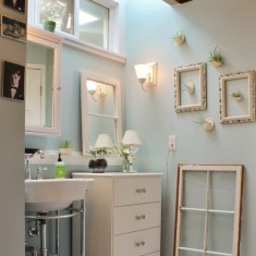 bathroom with frames